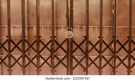 A metallic door with a lock isolated unique photo