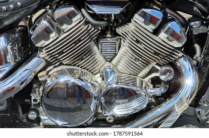 metallic engine of motorbike with YAMAHA letters on the engine that represent the famous brand from Japan  in Targu Mures city - Romania 31.jul.2020