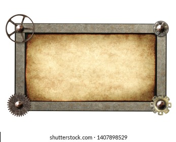Metallic frame with vintage machine gears and retro cogwheel. Isolated on white background. Mock up template. Copy space for text. Can be used for steampunk and mechanical design