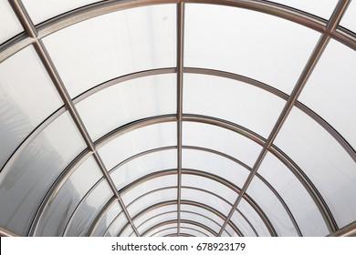 Metallic framework arch roof perspective