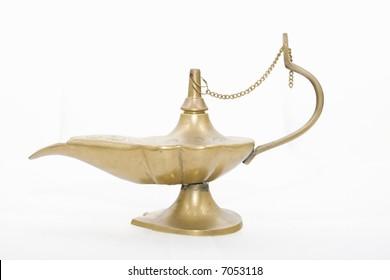 Metallic genie lamp, isolated on white