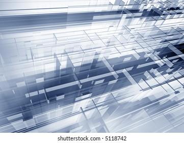 Metallic geometric modern 3d structure - digital artwork