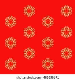 Metallic gold ribbon ornament on red/orange ground