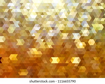 Metallic golden yellow modern abstract polygon background with triangular elements