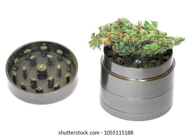 Metallic gray grinder with buds of marijuana, weed cannabis