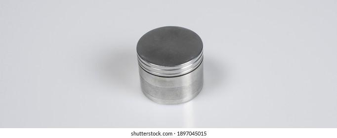 metallic gray grinder isolated on white background