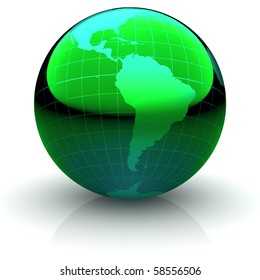 Metallic green globe with highly detailed continents and geographical grid  facing South America