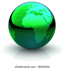 Metallic green globe with highly detailed continents and geographical grid  facing Africa and the Atlantic