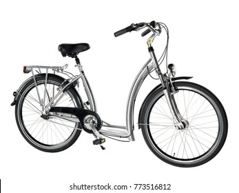 Metallic grey and black easy boarding bicycle on white background.