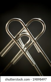 Metallic heart done with two paper clips