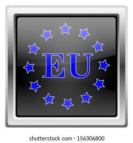Metallic icon with blue design on black background