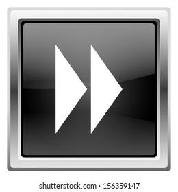 Metallic icon with white design on black background