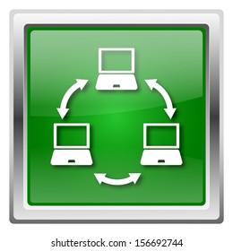 Metallic icon with white design on green background