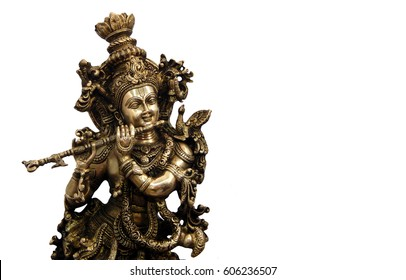 Metallic Idol of Hindu God Sri Krishna for sale to keep at home and offer puja or prayers