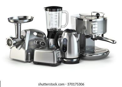 Metallic Kitchen Appliances. Blender, Toaster, Coffee Machine, Meat Ginder  And Kettle Isolated