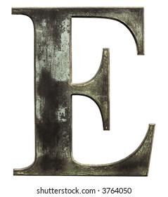 Metallic letter 'E' isolated on white