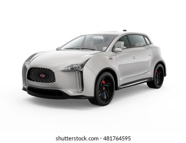 Metallic light gray electric SUV concept car in original design. 3D rendering image with clipping path.