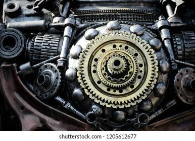 Metallic Machined Gear. Old gear
