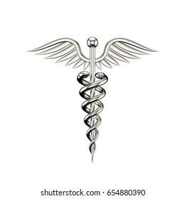 Metallic medical symbol. Isolated on white background. 3D rendering illustration.