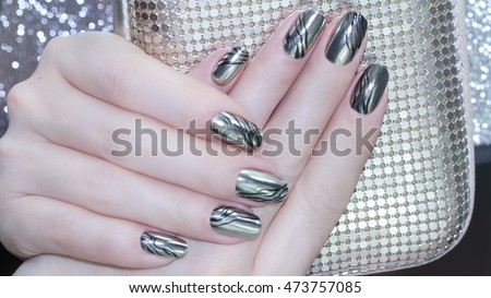 Metallic Nail Design Manicure Nail Paint Stock Photo Edit Now