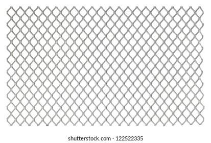 Metallic net on white background