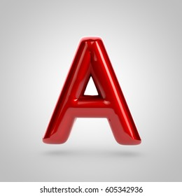 Metallic paint red letter A uppercase. 3D rendering font with glint and lights reflections isolated on white background.