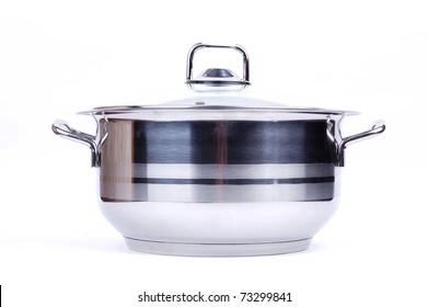 metallic pan on a white background