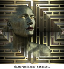 A metallic person with blank golden eyes looks to the future - 3D render with digital painting.