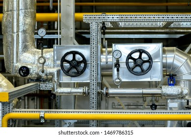 metallic pipes with pressure gauge  in industrial plant