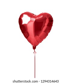 Metallic red heart balloon object for birthday party or valentines day isolated on a white background