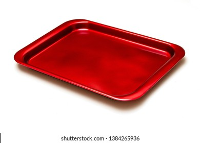 Metallic red tray isolated white background.