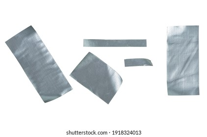 Metallic reinforced tape. Set pieces of silver self adhesive construction tape isolated on a white background.