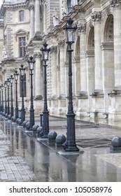 Metallic retro lampposts in historic Paris, France