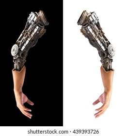 Metallic robot arm internal human hand isolated on black and white background for concept of the future technology
