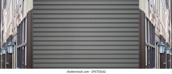 metallic roller shutter door and lamp