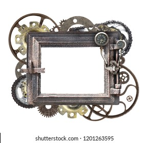 Metallic round frame with vintage machine gears and cogwheel. Isolated on white background. Mock up template. Can be used for steampunk and mechanical design