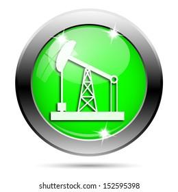 Metallic round glossy icon with white design on green background