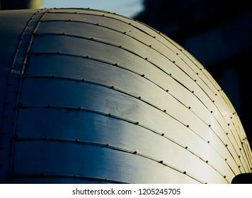 Metallic round shape object isolated unique photo