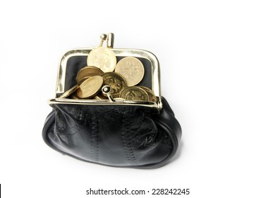 metallic ruble and black leather purse