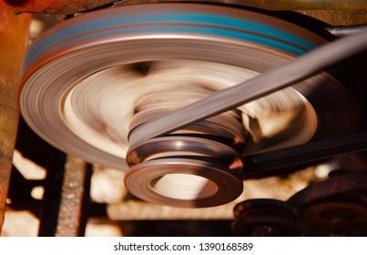 A metallic running motors of a machine isolate object photo