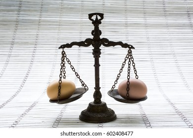 metallic scale with two egg in pans