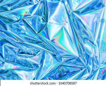 Metallic sensitive Holographic iridescent shimmering wrinkled foil. Hologram background of wrinkled abstract foil texture with shiny background. Good for cards and invitation