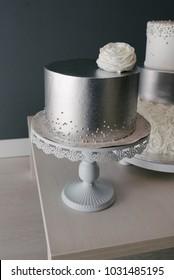 Metallic silver wedding cakes