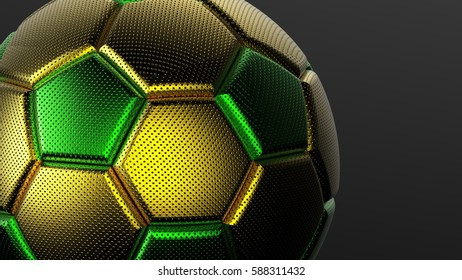 Metallic Soccer Ball. 3D illustration. 3D CG. High resolution.