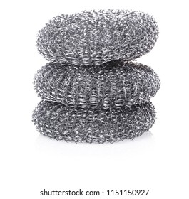 metallic sponge for dishes on white isolated background