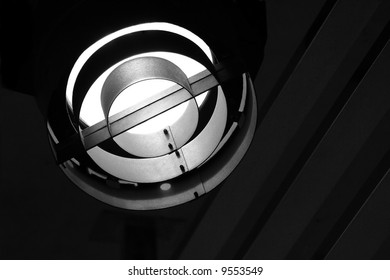 Metallic stage spotlight lighted with copyspace