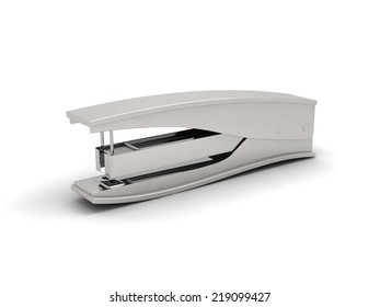metallic stapler on white backgroud.