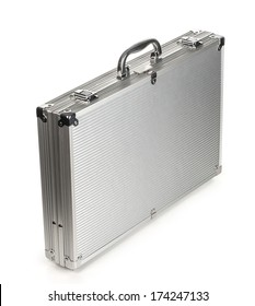 metallic suitcase on white background. with clipping path