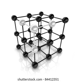 Metallic symbol with cube frame molecule (cube frame)