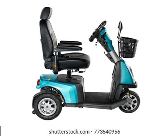 Metallic turquoise and black three wheel mobility scooter with front basket on white background.